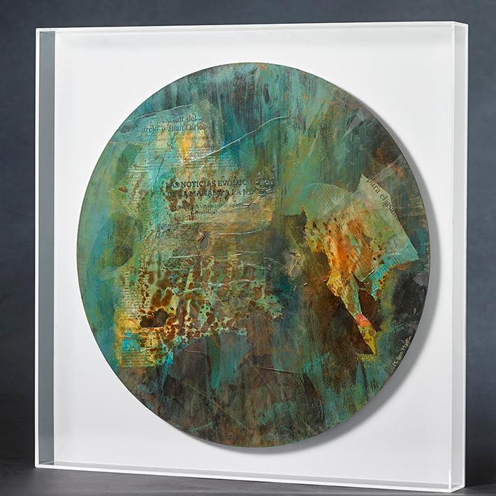 El Mundo I – Metal Intervenido Y Metacrilato – 59 X 59cm
